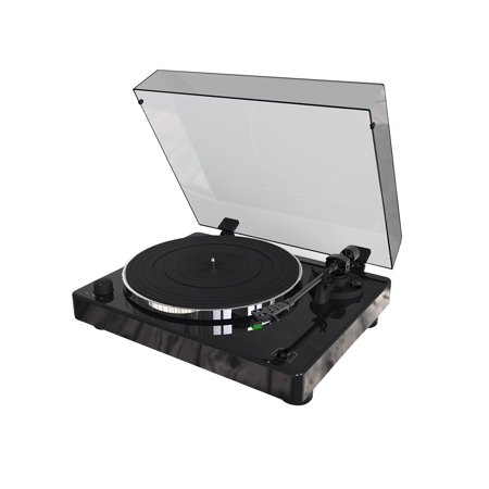 Monoprice Monolith Turntable Black Compatible with Audio-Technica AT100E Cartridge, Premium Construction, Phono Pre (Best Integrated Amp With Phono Stage)