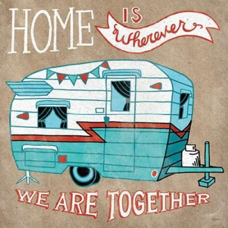 Adventure Love Camper Taupe Rolled Canvas Art - Mary Urban (12 x 12)