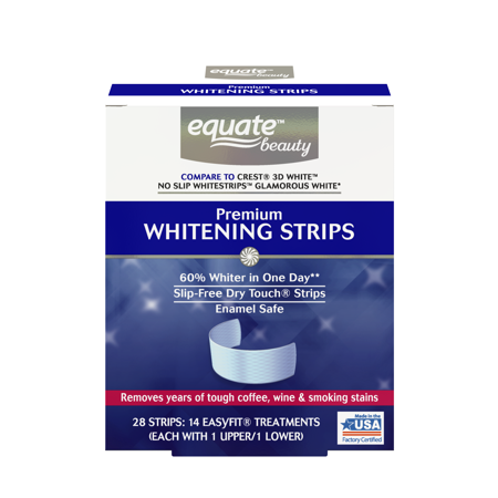 Equate Beauty Premium Teeth Whitening Strips, 14 Treatments (Compare to Crest 3D White Glamorous - Dental Whitening Formula 40 Strips