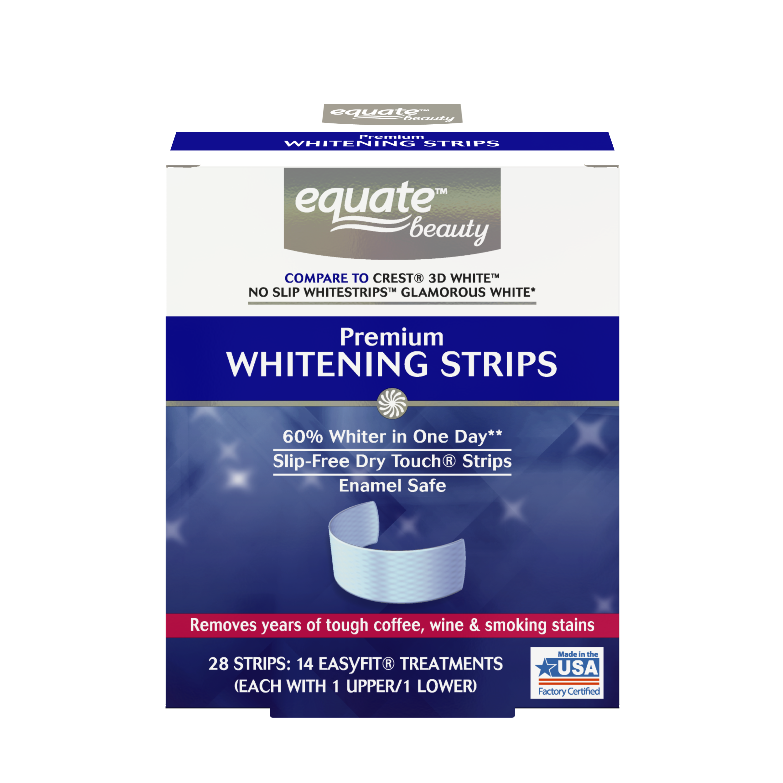 Equate Beauty Premium Teeth Whitening Strips, 14 Treatments (Compare to Crest 3D White Glamorous White)