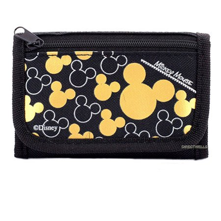 Mickey Mouse Character Black Gold Trifold Wallet (Mickey Mouse Hinge Wallets)