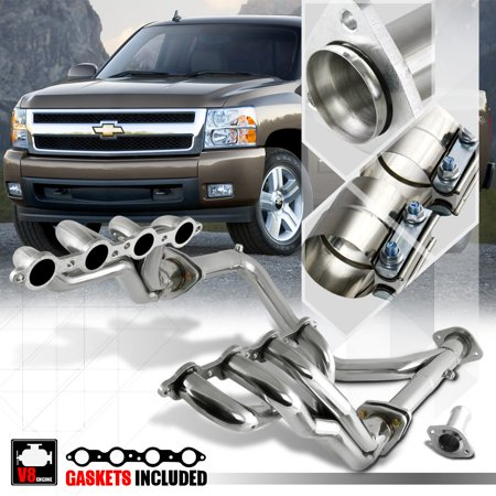 SS Long Tube Exhaust Header Manifold+Y-Pipe for Chevy/GMC GMT900 4.8/5.3/6.0 V8 07 08 09 10 11 12