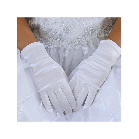 White Short Gloves (Angels Garment Little Girls White Soft Short Communion Flower Girl Gloves)