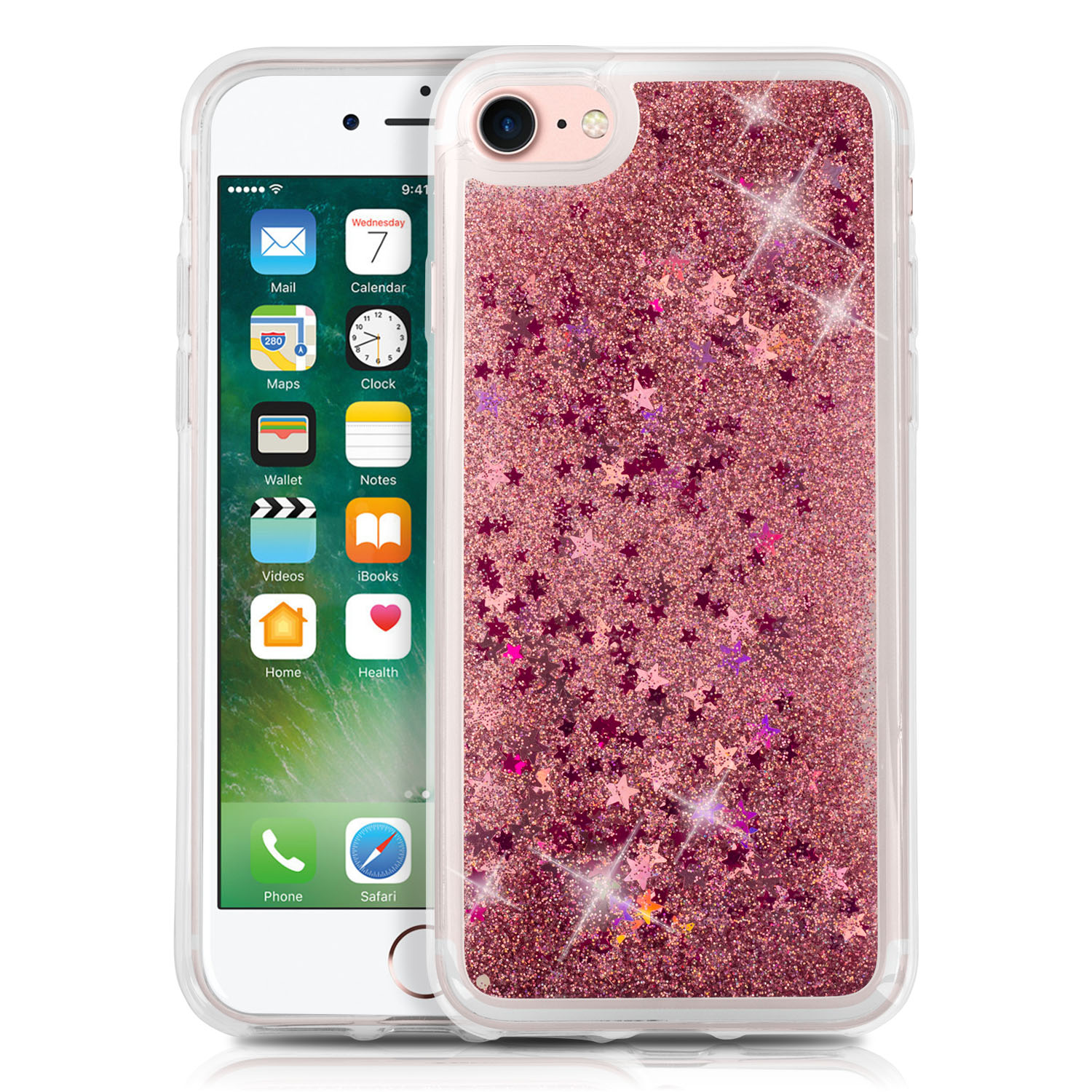 iPhone 7 and iPhone 8 Case, SOJITEK Floating Liquid Clear Case for iPhone 7 & iPhone 8 Soft Cover TPU Bumper Bling Bling Case (Rose Gold + Star)