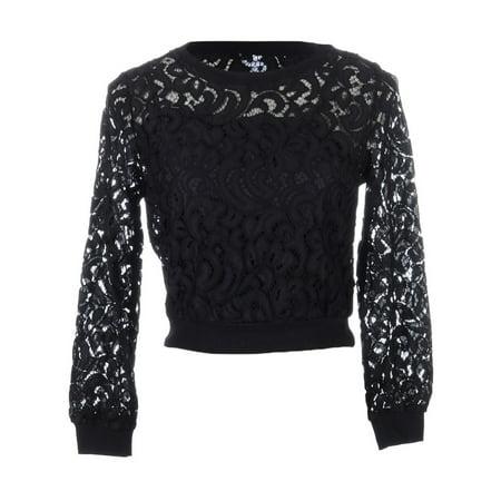 Anna Kaci Sm Fit Black Crochet Lace Paisley Pattern Overlay