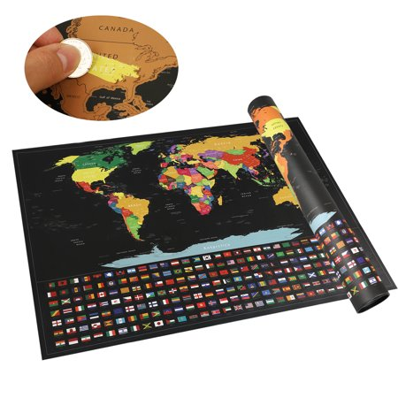 EEEkit Scratch Off Map of The World - Large  57x42cm, Scratch Off World Map Poster with US States and Country Flags. Deluxe Travel Map, Perfect Gift for Travelers ()