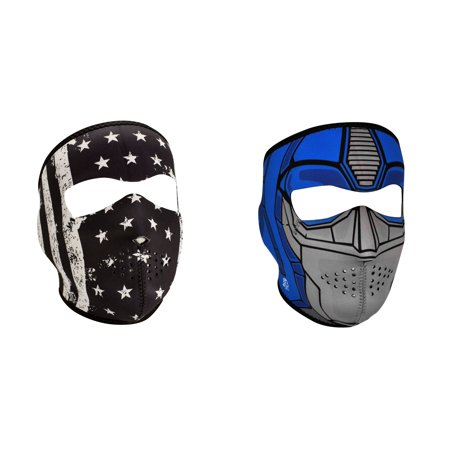 Zan Headgear Value Bundle Consisting Of 1 Zanheadgear Black   White Vintage American Flag Full Face Neoprene Face Mask  And  1 Zan Guardian Full Face Neoprene Face Mask  Ski Mask