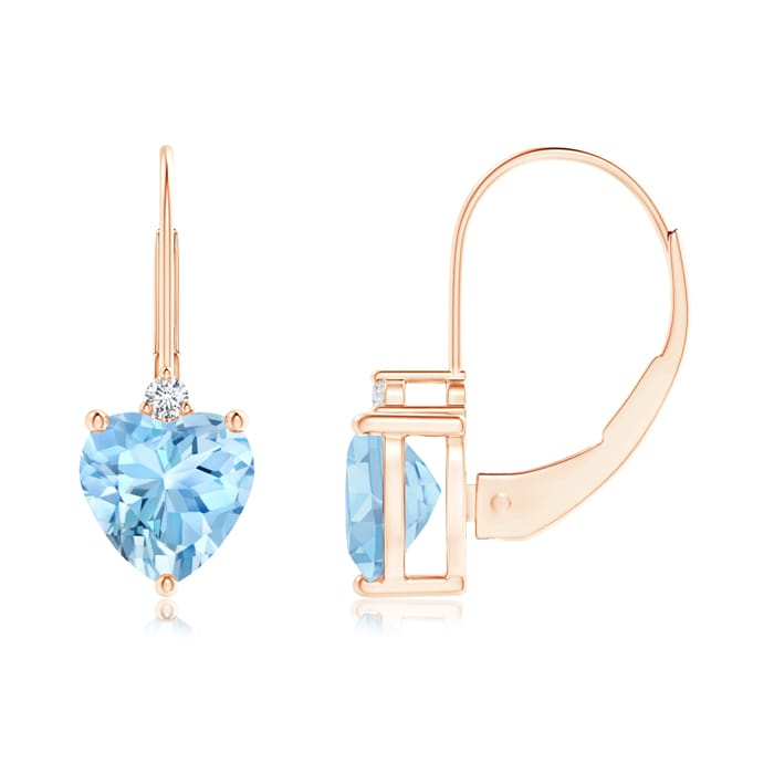 Angara Solitaire Heart Sapphire Leverback Earrings with Diamond in Yellow Gold NVMCA