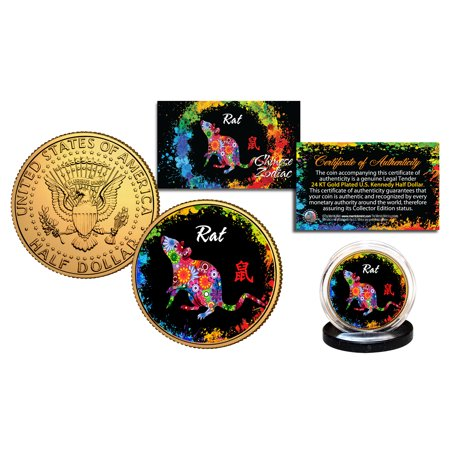 Chinese Zodiac PolyChrome Genuine JFK Half Dollar 24K Gold Plated Coin - RAT