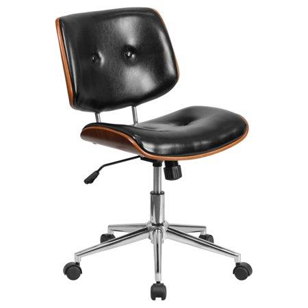 Flash Furniture Mid-Back Black Leather Ergonomic Wood Swivel Task Chair, Black, Walnut