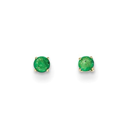 14k Yellow Gold Childs Round Emerald 3mm Post Earrings w/ Gift (Emerald Wedding Earrings)