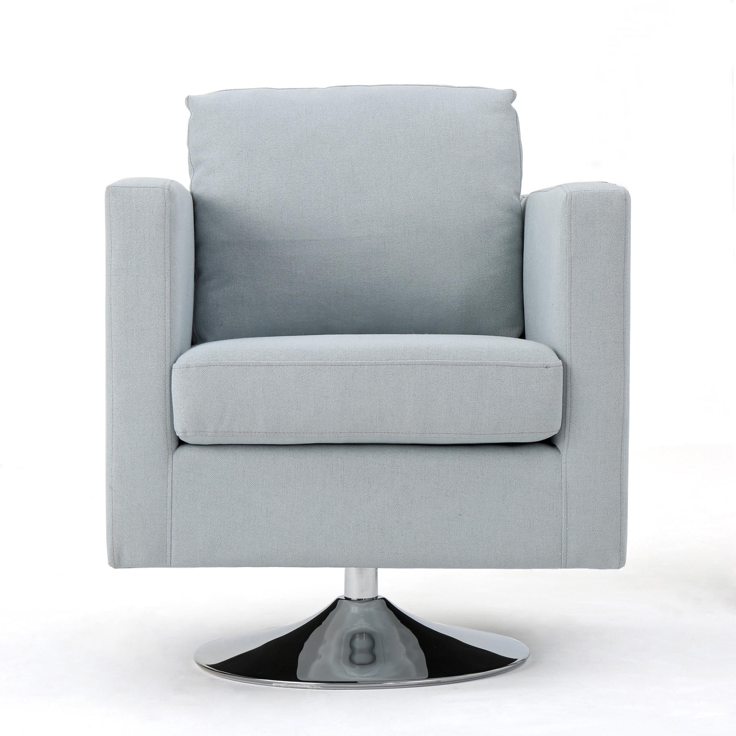 Click here to buy Hahn Modern Fabric Swivel Armchair, Light Sky by GDF Studio.