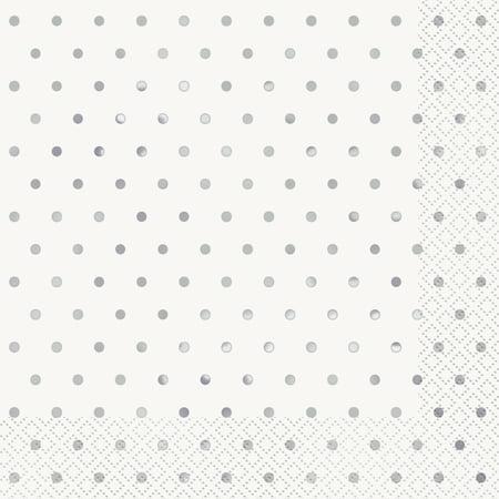 Foil Elegant Silver Polka Dot Paper Luncheon Napkins, 6.5 in, - Elegant Paper Napkins