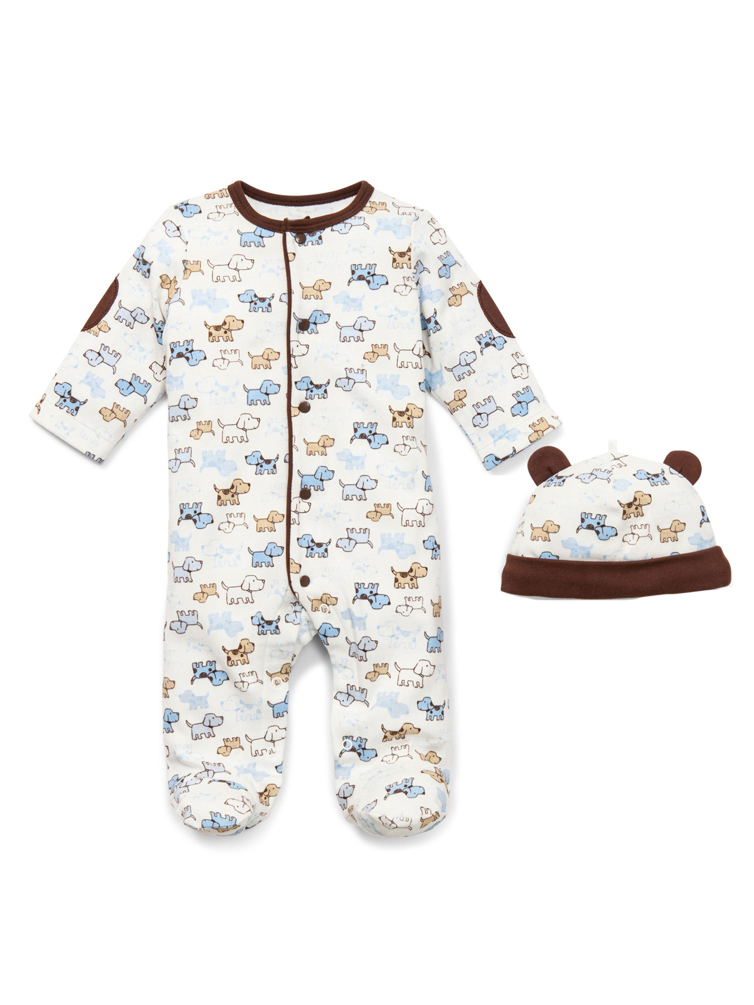 Cute Puppies Snap Front Footie Pajamas with Hat For Baby Boys Sleep N Play One Piece Romper Coverall Cotton Infant Footed Sleeper; Pijamas Para Bebes - White Puppy Print - 6 Month