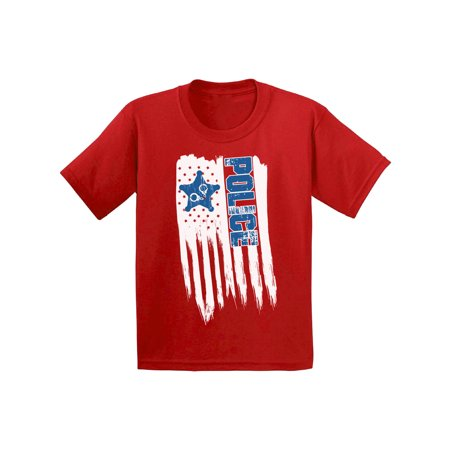 Awkward Styles American Flag Police Youth Shirt Proud American Retro USA Police T shirt for Boys Love USA Retro USA Police T shirt for Girls 4th of July Party USA Police Kids Tshirt Kids Gifts](Police Gifts For Kids)