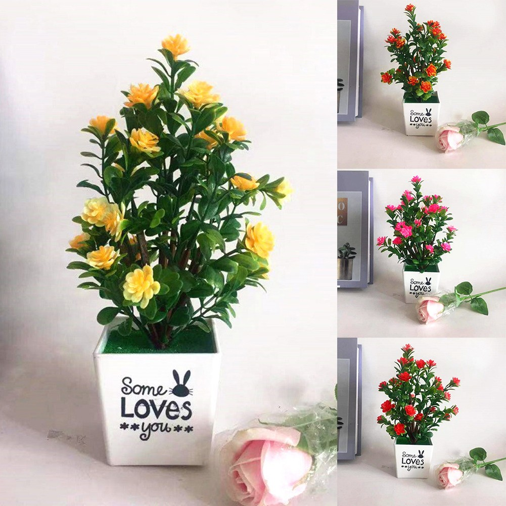 Realistic Artificial Flowers Plant In Pot Outdoor Home Office Decoration Gift ^