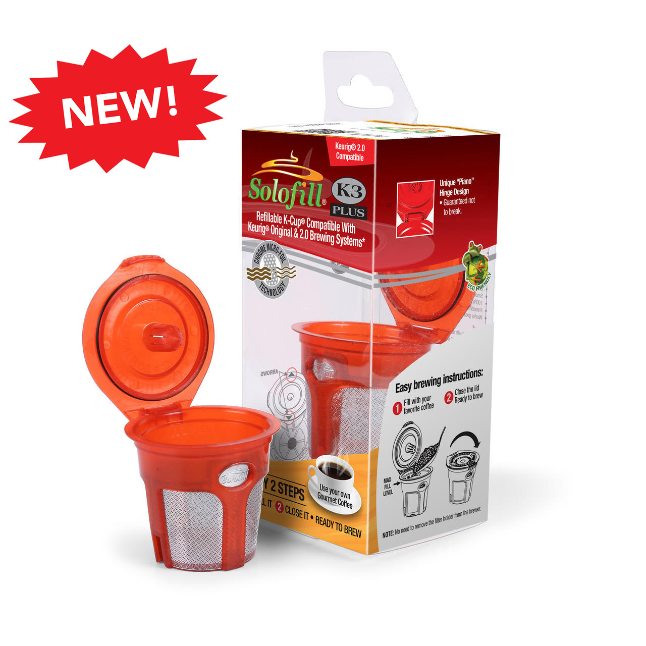 Reusable Coffee Filter Solofill K3 Plus Compatible with: All 1st Generation Keurig K-Cup Brewing & 2.0 Brewing Systems
