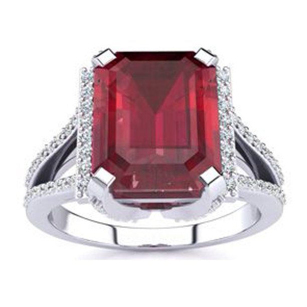 4 3/4 Carat Ruby and Halo Diamond Ring In 14 Karat White Gold Size 4.5