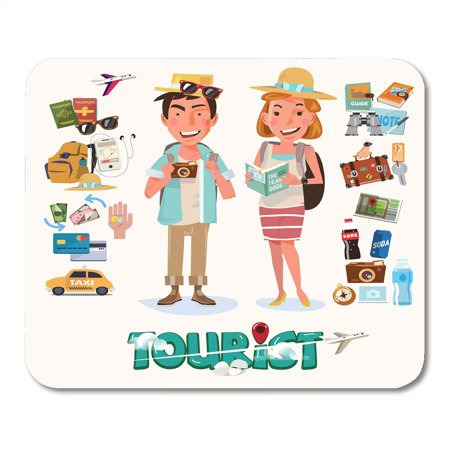 KDAGR Man Cartoon Couple of Tourist with Gadget for Travel Character Design Flat Adventure Mousepad Mouse Pad Mouse Mat 9x10 (Best Business Travel Gadgets)