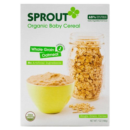 Sprout Whole Grain Oatmeal Organic Baby Cereal, 7 oz