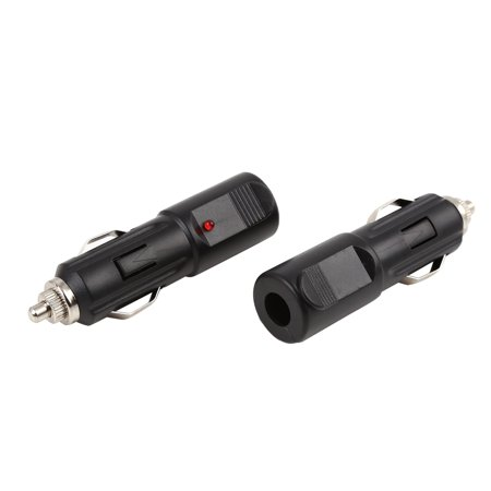 2pcs Waterproof Auto Motorcycle Boat Fused Cigarette Lighter Power Socket Plug Connector DC 12V 24V with LED Indicator (Cigarette Lighter Plug Fused)