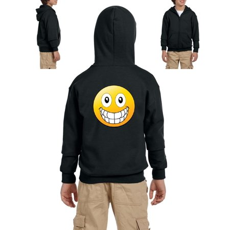 Emojis Hoodie Big Smile Grinning Big Mouth  Youth Hoodies Zip Up Sweater