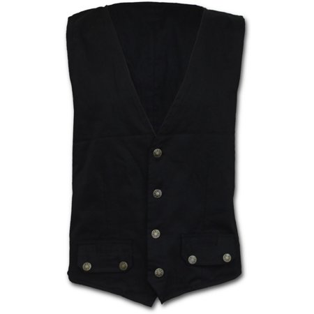 Spiral Direct GOTHIC ROCK Cotton Gothic Waistcoat Four Button with LiningGothic |Metal