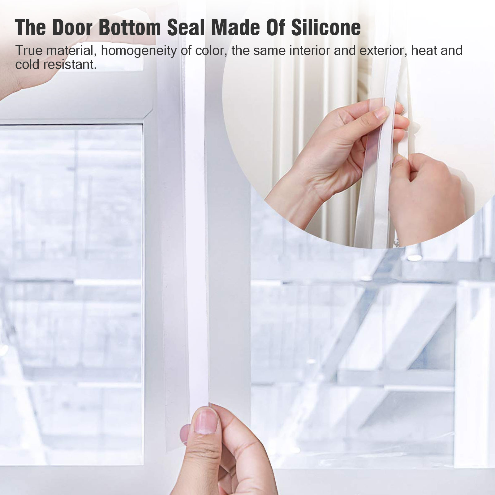 Neigei Door Bottom Seal Strip,2m//6.5ft Door Seal Strip Weather Stripping for Doors Silicone Sealing Sticker Seal Strip Adhesive Draught for House and Glass Shower Door Weatherproofing