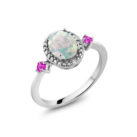 (1.22 Ct Simulated Opal and Pink Sapphire 925 Sterling Silver Ring Accent Diamond)