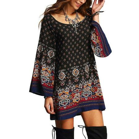 abe98c2ca56 HIMONE - Womens Summer Beach Mini Dress Sundress Boho Floral Print Long  Sleeve Crew Neck Long Tops Loose Casual Party Shirt Dress - Walmart.com