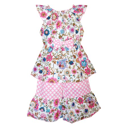 AnnLoren Girls Boutique Spring Pink Floral & Polka Dots Tunic and Capri Set
