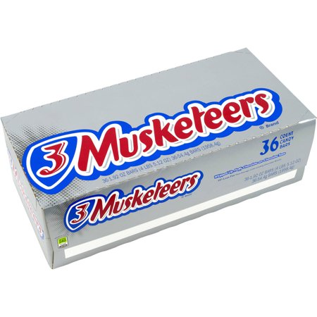Image of 3 Musketeers Candy Bars, 1.92 oz, 36 count