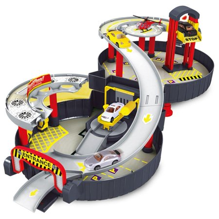 Parking Garage Wheel Storage Case Opens to Reveal Hot Track Play Set