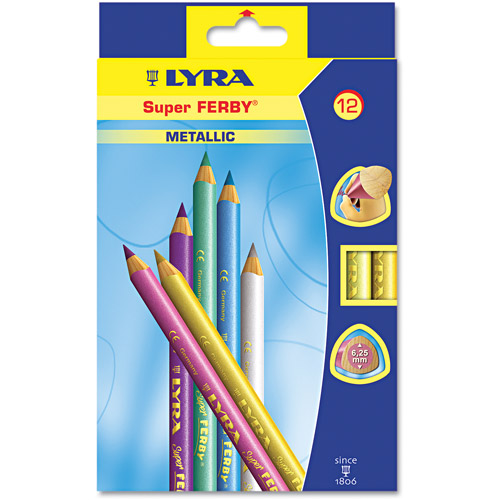 Dixon Super Ferby Woodcase Pencil, Assorted Colors, 6.25mm, 12 per Pack