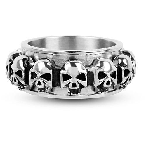 Steel Art Men's Spinner Ring with Multiple Skulls All Around