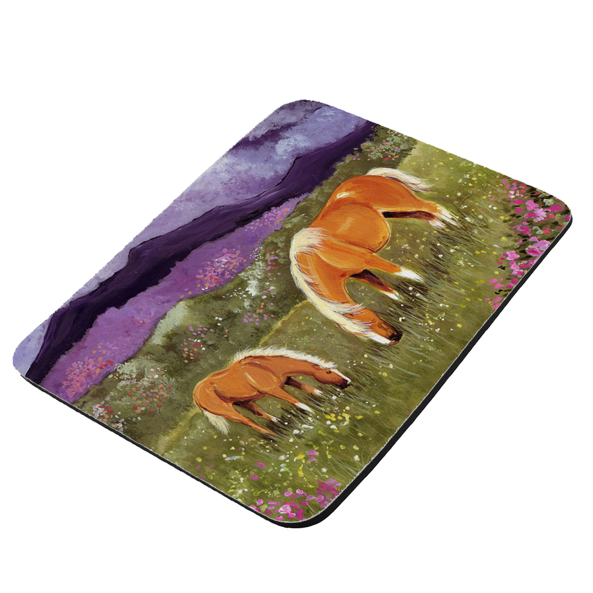 Belgian Mare and Foal High Valley Spring Horse Art by Denise Every - KuzmarK Mousepad / Hot Pad / Trivet