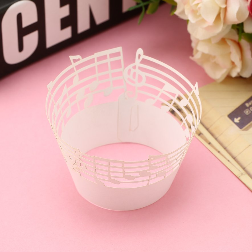 50pcs Laser Cut Cupcake Wrappers Music Notes Muffin Case Cake Paper Cup Liner