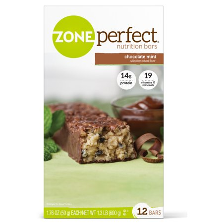 Protein Bar Chocolate Mint (ZonePerfect Nutrition Snack Bar, Chocolate Mint, 14g Protein, 12 Ct )