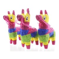Pack of 3 Miniature Donkey Pinatas - Rainbow Donkey Mini-Sized Mexican Pinatas for Birthday Party, Cinco De Mayo, Fiestas, Celebrations - 4 x 7.5 x 2 inches