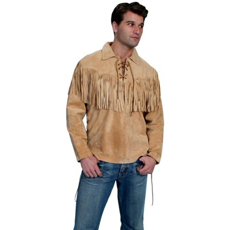 Scully Western Shirt Mens Trapper Long Sleeve Fringe Bourbon 5-409