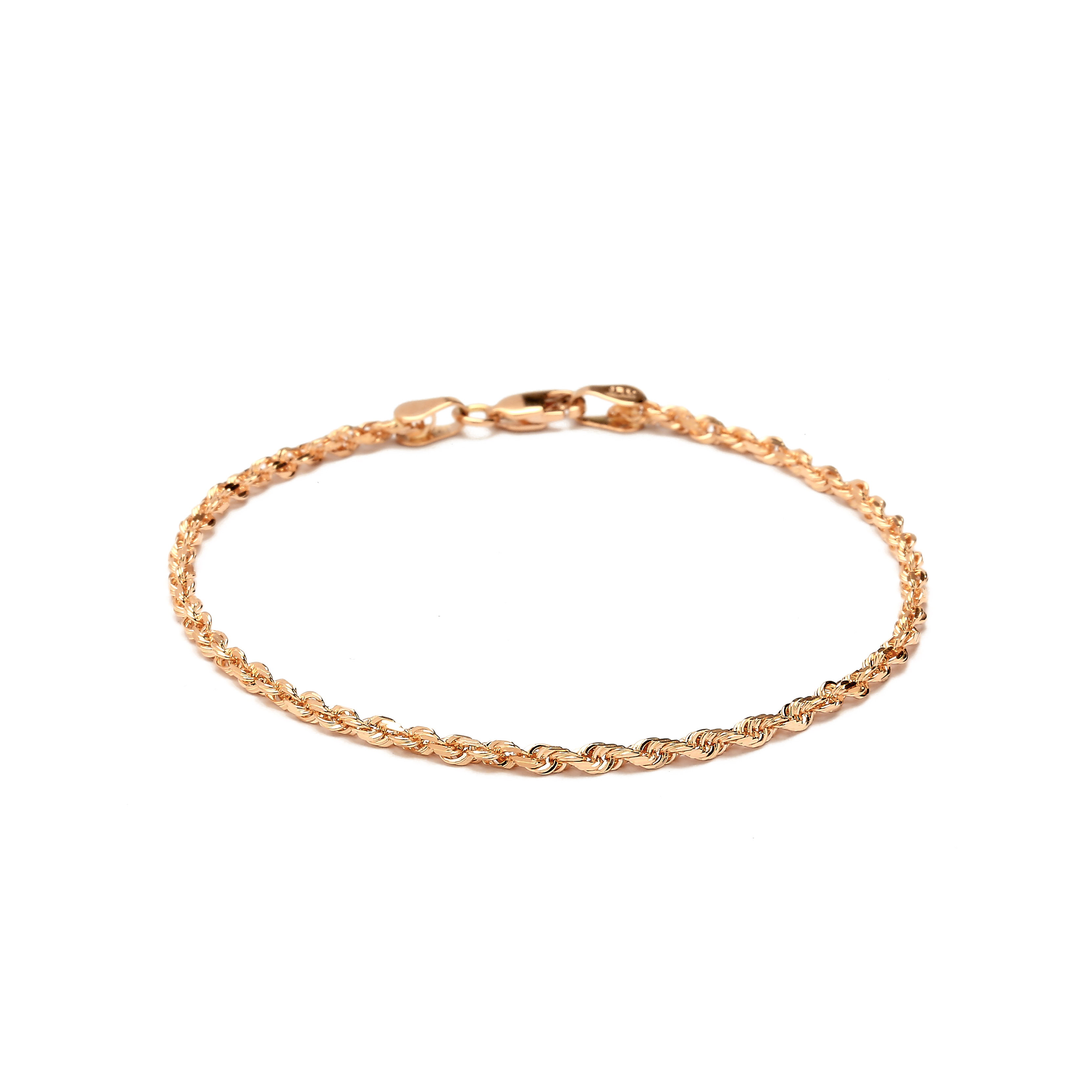 Jewelry Adviser Bracelets 14k Tri-color Circle /& Oval 9in with 1in ext Anklet Length 10