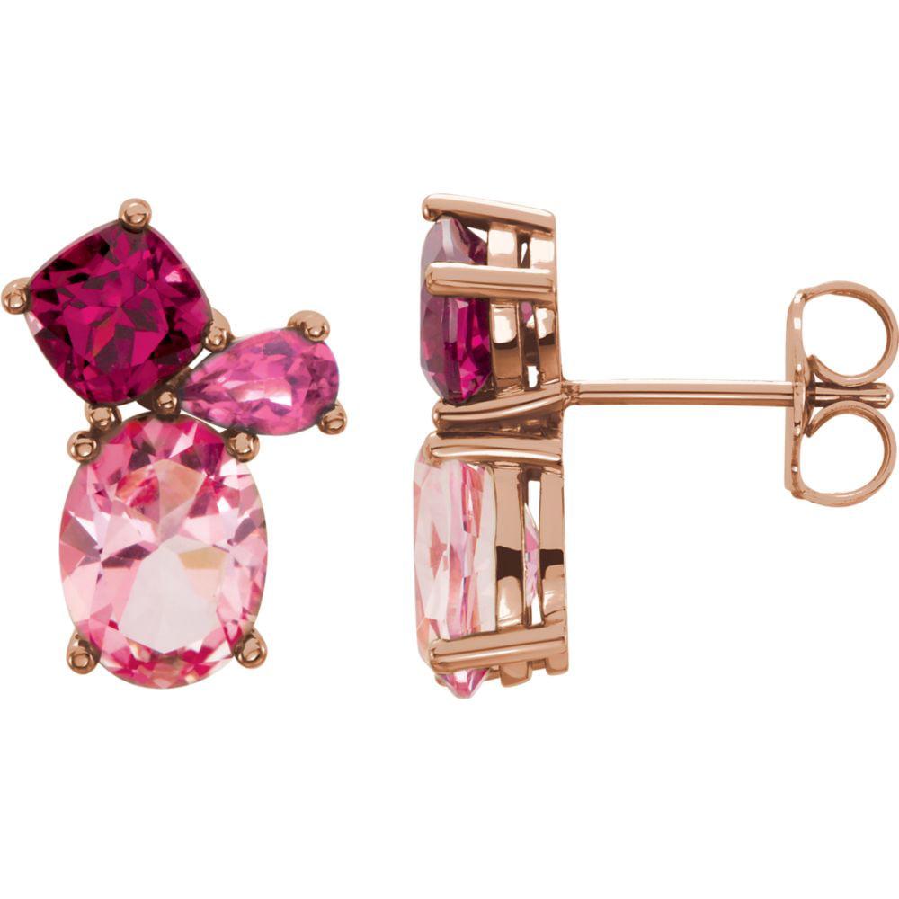 14k Rose Gold Baby-Pink-Topaz Rhodolite Garnet Pink-Tourm...
