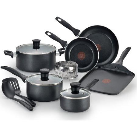 T-fal, Easy Care Nonstick 12 Pc. Cookware Set, Thermo-Spot, Dishwasher Safe, Black, (T Fal Pots And Pans Oven Safe)