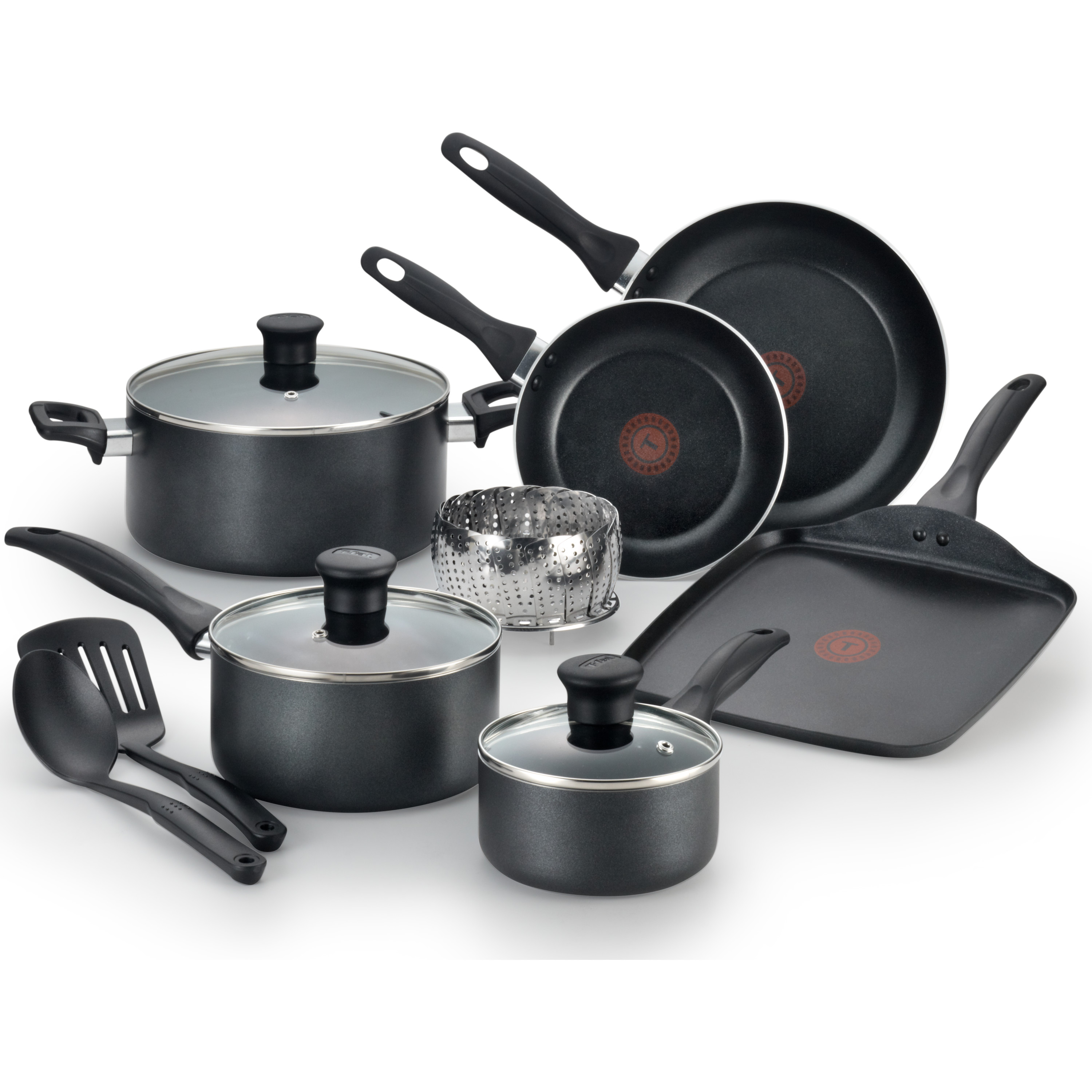 T-fal, Easy Care Nonstick, B145SA, Dishwasher Safe Cookware, 12 Pc. Set, Black