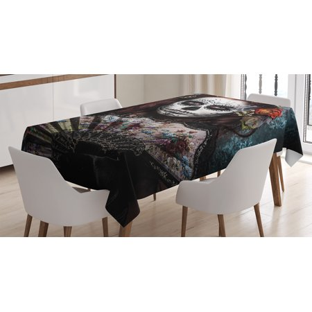 Maroon Monarch Tablecloths - Day Of The Dead Decor Tablecloth, Make up Artist Girl with Dead Skull Scary Mask Roses Print, Rectangular Table Cover for Dining Room Kitchen, 52 X 70 Inches, Cadet Blue Maroon, by Ambesonne