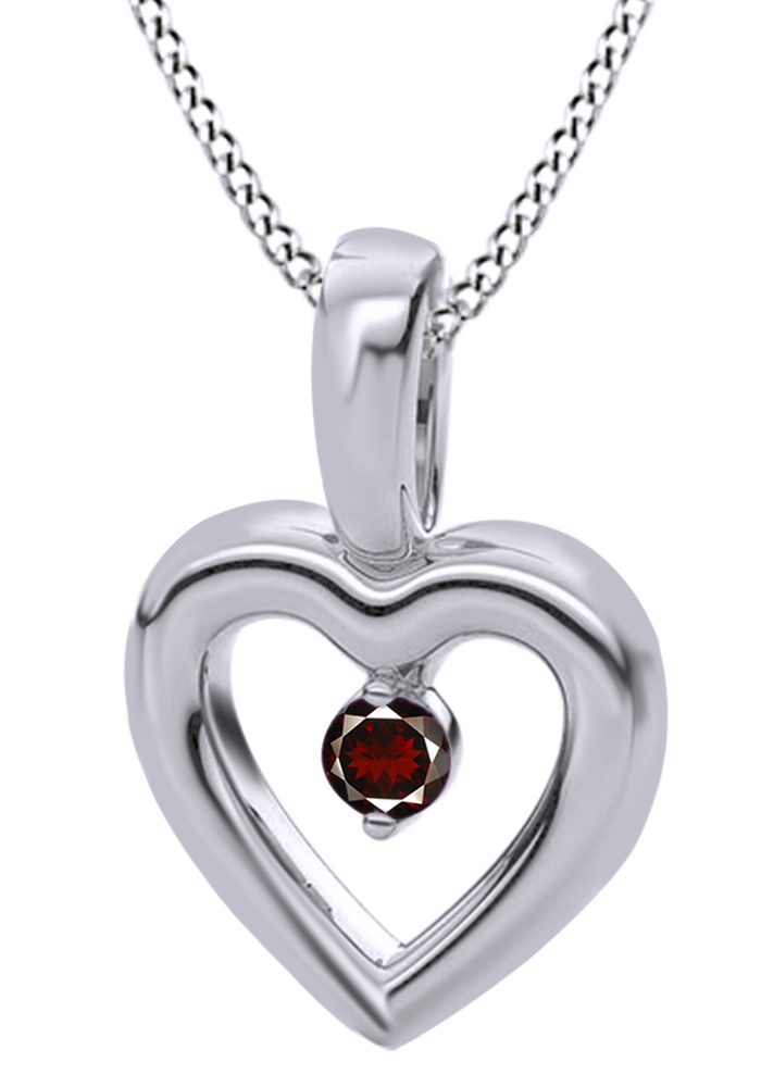 Round Cut Simulated Red Garnet Heart Shaped Pendant Necklace In 14k Solid White Gold (0.07 Cttw) by Jewel Zone US