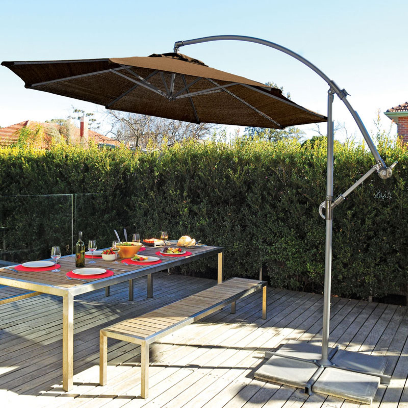 Coolaroo 12' Cantilever Umbrella, Mocha