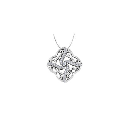Diamond Square Like Shaped Pendant in 14K White Gold 0.25 CT TDWPerfect Jewelry Gift - image 2 of 2