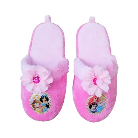 Princess Glass Slippers (Disney Princess Girls Pink Slippers Scuff Loafer Style Slippers House)