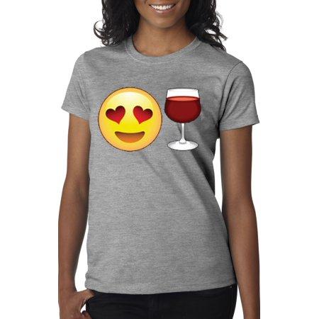 New Way 345 - Women's T-Shirt Emoji Smiley Face Heart Eyes Love Wine - Empty Heart Emoji